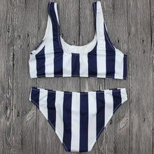 Load image into Gallery viewer, White/Black Vertical Stripe Swimsuit