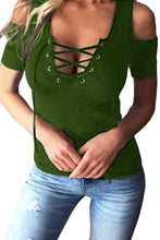 Load image into Gallery viewer, Deep V Neck  Cutout Lace Up  Plain T-Shirts