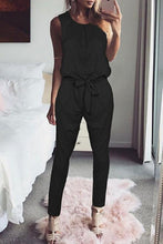 Load image into Gallery viewer, Round Neck  Bowknot  Belt Loops  Plain Jumpsuits