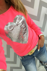 Round Neck  Glitter Heart T-Shirts