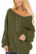 Load image into Gallery viewer, One Shoulder  Plain  Lantern Sleeve Sweatshirts