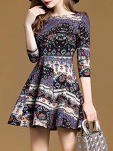 Load image into Gallery viewer, Chic Printed Round Neck Skater Dress