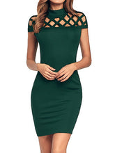 Load image into Gallery viewer, Band Collar  Plain Bodycon Dress