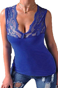 V Neck  See Through  Patchwork Camis