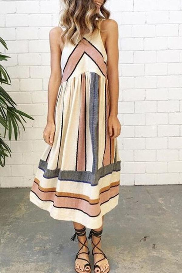 Round Neck  Striped  Sleeveless Maxi Dresses