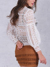 Load image into Gallery viewer, Collarless  Decorative Lace  Hollow Out Blouses