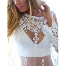 Load image into Gallery viewer, Bohemia Sexy Plain Hollow Embroidery Beach Sun Protection Smock