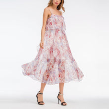 Load image into Gallery viewer, Bohemia Frilled Printing Strap Chiffon Beach Vacation Dress
