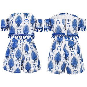 Bohemia Printing Tassel Strapless High-Waist Shorts Two-Piece Set