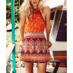 Bohemia Digital Printing Halter Sleeveless Beach Vacation Dress