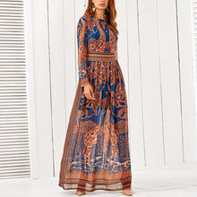 Load image into Gallery viewer, Bohemia Round Collar Long Sleeve Printing Dress