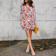 Load image into Gallery viewer, Bohemia Deep V Collar Printing Long Sleeves Vacation Casual Dresses