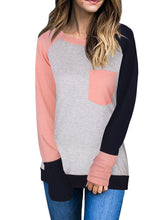 Load image into Gallery viewer, Round Neck  Patchwork  Color Block Long Sleeve T-Shirts