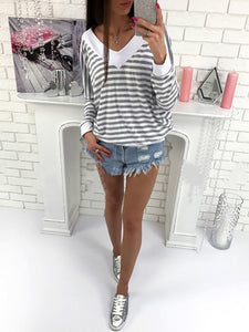 Round Neck  Patchwork  Striped Long Sleeve T-Shirts