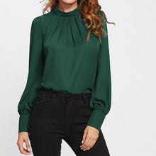 Load image into Gallery viewer, Chiffon Hollow Collar Solid Color Shirt