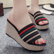 Load image into Gallery viewer, Color Block Striped  High Heeled  Peep Toe  Casual Slippers