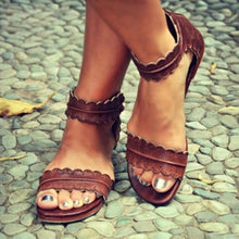 Load image into Gallery viewer, Flat  Ankle Strap  Peep Toe  Casual Socofy  Sandals