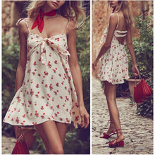 Load image into Gallery viewer, Cherry Printed Sling Backless Beach Dress