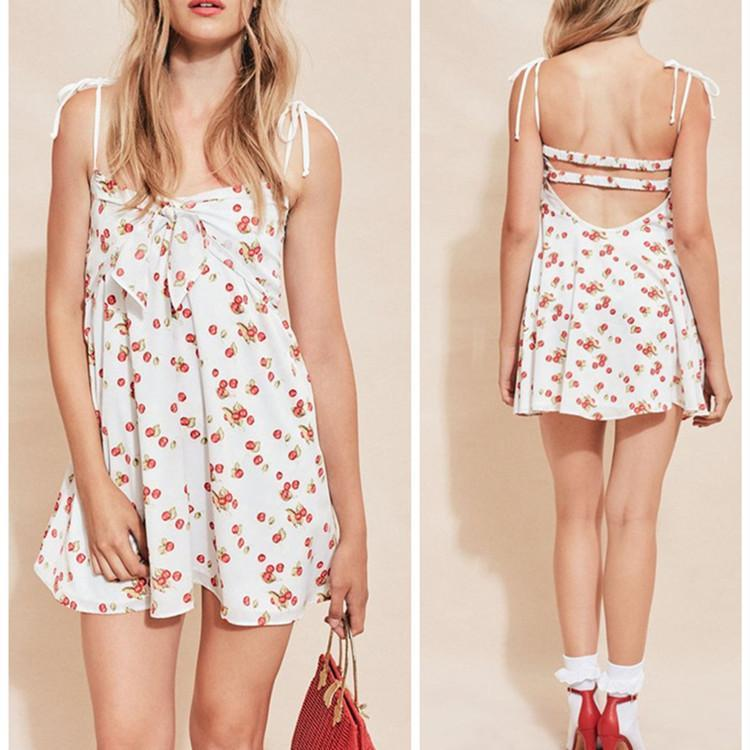Cherry Printed Sling Backless Beach Dress