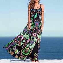 Load image into Gallery viewer, Spaghetti Strap  Bohemian Printed Maxi Dresses