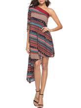 Load image into Gallery viewer, One Shoulder Bohemian Printed Asymmetric Hem Skater Dress