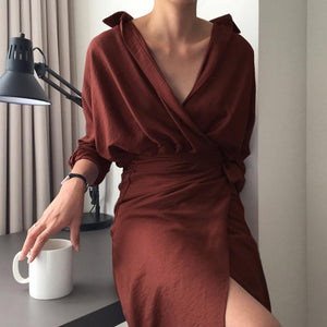 Sexy V Collar Pure Color Package Hip Bodycon Dress