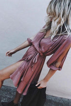 Load image into Gallery viewer, Surplice  Slit  Belt  Plain  Half Sleeve Casual Dresses