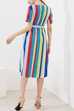 Load image into Gallery viewer, Stylish Floral Print Rainbow Maxi Dress