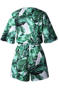 Surplice  Belt  Printed  Bell Sleeve  Short Sleeve  Playsuits