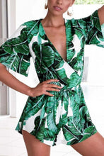 Load image into Gallery viewer, Surplice  Belt  Printed  Bell Sleeve  Short Sleeve  Playsuits
