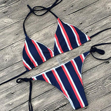 Load image into Gallery viewer, Sexy Stripe Two-Piece Bikini