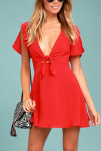 Load image into Gallery viewer, Deep V Neck  Bowknot  Plain  Bell Sleeve  Short Sleeve Casual Dresses
