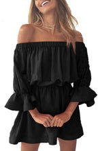 Load image into Gallery viewer, Off Shoulder  Plain  Bell Sleeve  Long Sleeve Casual Dresses