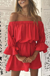 Off Shoulder  Plain  Bell Sleeve  Long Sleeve Casual Dresses