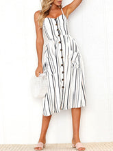 Load image into Gallery viewer, Spaghetti Strap Vertical Striped Patch Pocket Skater Dress