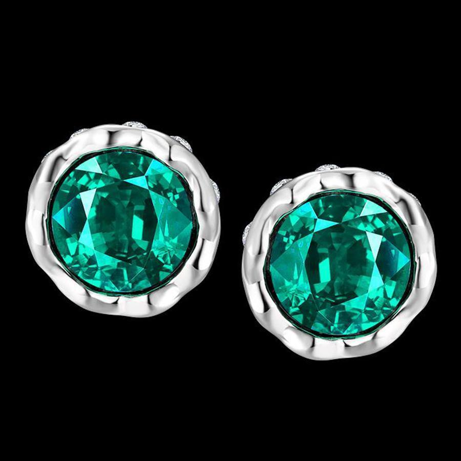 Platinum-Plated Zircon Earrings