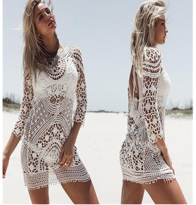 Beach Holiday Sunscreen Sexy Hollowed Lace Blouse