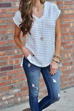 Load image into Gallery viewer, V Neck  Slit  Striped T-Shirts
