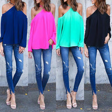 Load image into Gallery viewer, Cotton Plain Long Sleeve Blouses