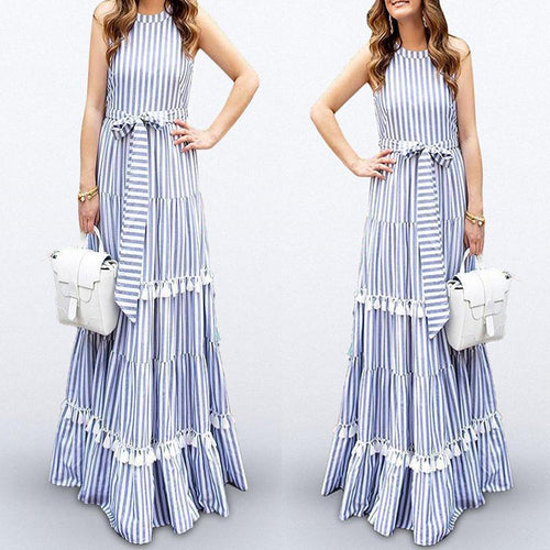 Striped Holiday Bohemian Maxi Dress