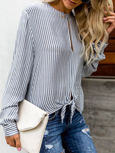 Load image into Gallery viewer, Round Neck  Hollow Out  Striped  Long Sleeves Blouses