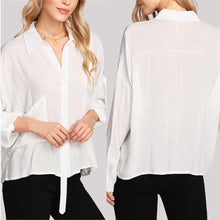 Load image into Gallery viewer, Sexy White Long Sleeves Plain Blouses Blouses