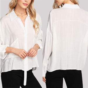 Sexy White Long Sleeves Plain Blouses Blouses