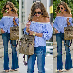 Sexy Blue And White Striped Off-Shoulder Blouses