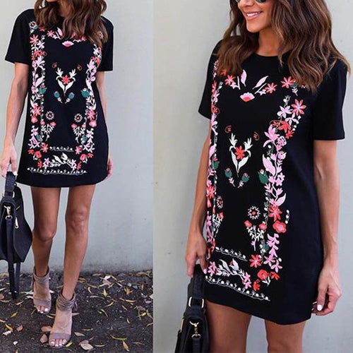 Round Neck Floral Printed Short Sleeve Casual Dress