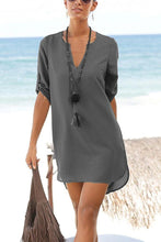 Load image into Gallery viewer, V Neck  Asymmetric Hem  Belt  Plain  Half Sleeve Casual Dresses