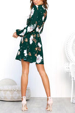 Load image into Gallery viewer, High Neck  Floral Printed  Long Sleeve Casual Dresses