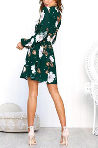 High Neck  Floral Printed  Long Sleeve Casual Dresses