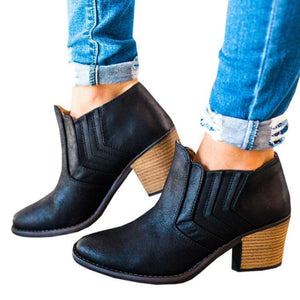 Retro Element Pure Color Mid-Heel Boots