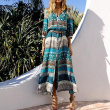 Load image into Gallery viewer, Halter Printed Half Sleeve Maxi Dresses